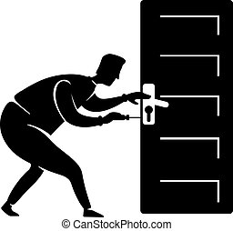 posición, persona, perilla, pose., illustration., 2d, impresión, reparación, aprieto, puerta, arreglos, silueta, carácter, caricatura, negro, factótum, forma, handle., artesano, casa, vector, trabajador, comercial, animación