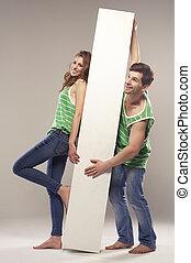posición, pizarra, pareja, joven, retrato