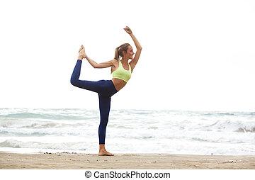 posición, playa, mujer, yoga, joven