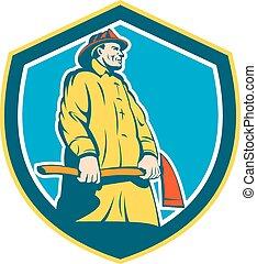 posición, protector, bombero, bombero, retro, hacha