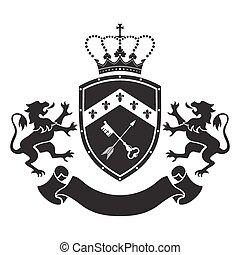 posición, protector, chamarra, -, dos, brazos, corona, ...
