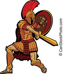 posición, protector, spartan, illustratio, vector, espada, mascota