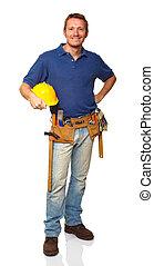 posición, retrato, trabajador construcción