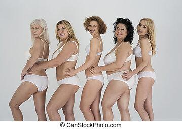 posición, ropa interior, fila, mujeres
