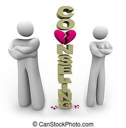 posición, separado, pareja, palabra, asesoramiento