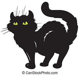 posición, silueta, gato