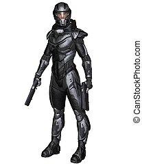 posición, soldado, -, scifi, hembra