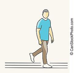 posición, -, solo, hombre, línea, design., dibujo, feliz