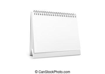 posición, spiral., blanco, vector, calendario de escritorio