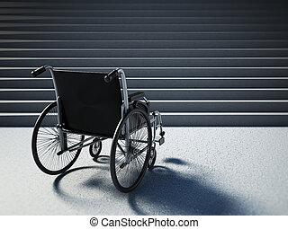 posición, staircase., sílla de ruedas, ilustración, frente,...