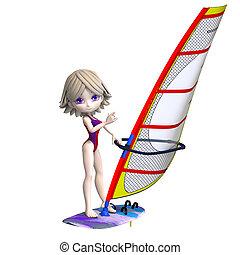 posición, surfboard., recorte, niña, dulce, encima, caricatura, interpretación, trayectoria, sombra, blanco, 3d