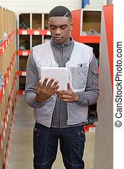 posición, tableta, trabajador, tenencia, digital, almacén