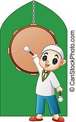 posición, tambor, mezquita musulmana, palo, tenencia, frente, niño