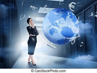 posición, tierra, centro, gráficos, datos, mujer de negocios, pensamiento, moneda