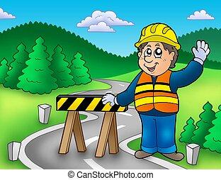 posición, trabajador construcción, camino