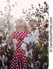 posición, viejo, años, campo, 5, niña, algodón