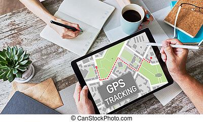 posicionar, rastrear, gps, dispositivo, global, sistema, screen., mapa