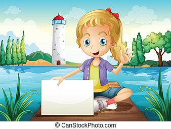 posiedzenie, deska, dzierżawa, signage, nurkowanie, dziewczyna, opróżniać