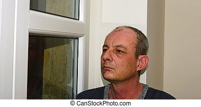 posiedzenie, przygnębiony, wiek, środek, okno, człowiek