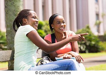posiedzenie, studenci, afrykanin, młody, kolegium, outdoors