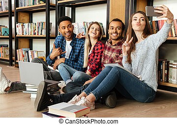 posiedzenie, studenci, ustalać, biblioteka, ruchomy, głoska., selfie, szczęśliwy