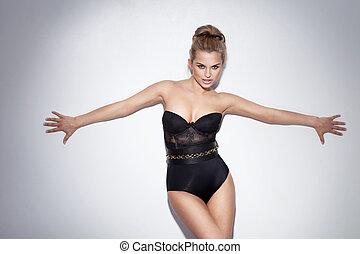 posierend, attraktive, lingerie., schwarz, blond, dame