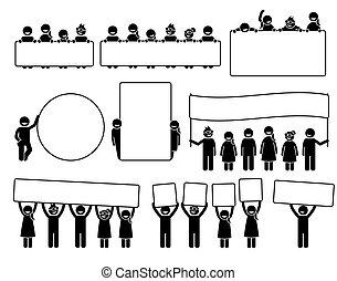 posierend, figuren, glücklich, icons., kinder, banner, hinten, leerer , besitz, stock