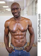 posierend, muskulös, turnhalle, mann