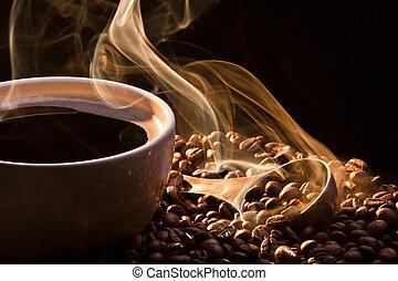 posiew, dym, kawa