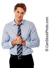 posing, парень, clasped, корпоративная, руки