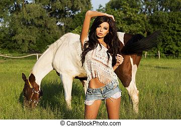 posing., beauty, brunette, aantrekkelijk