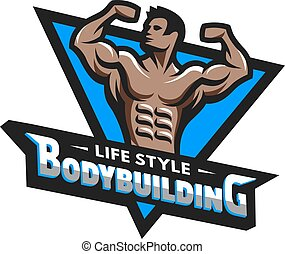 Posing bodybuilder, badge, emblem.