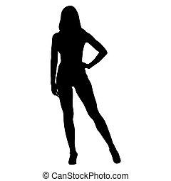 Posing fitness woman. Bodybuilder girl standing on high...