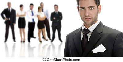 posing handsome businessman