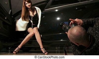 Posing in a car