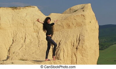 Posing in a desert