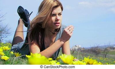 Posing in a field