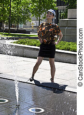 Posing in front of a fountain
