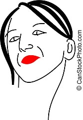 posing lady - a simple line drawing of a pretty young womans...