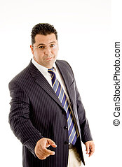 posing middle aged businessman