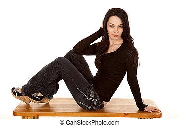 Posing on bench