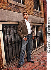 posing on street