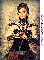 posing steampunk - Portrait of a beautiful steampunk woman...