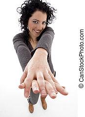 posing woman looking at camera