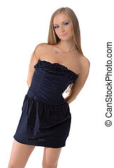 posing young female in blue dress