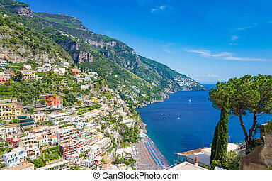Beautiful Positano with colorful Mediterranean architecture and comfortable beaches on Amalfi Coast in Campania, Italy.