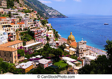 Positano, Amalfi Coast Italy - View of the town of Positano...