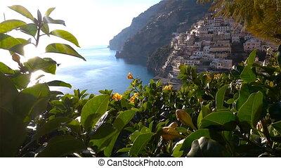 Positano, Amalfi Coast, Salerno, Italy at spring time. Crane...