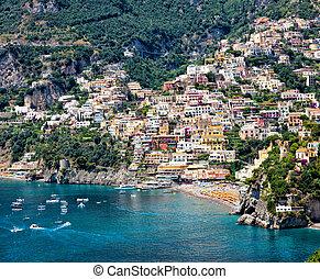 positano, amalfi küste, italien