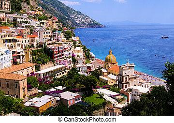 positano, amalfi part, olaszország